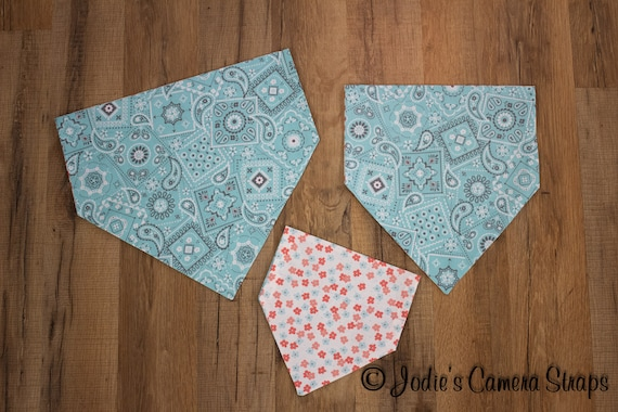 Dog Bandanas - Slip Over Collar - Reversible - Bandana and Floral Prints, Mint Green and Peach