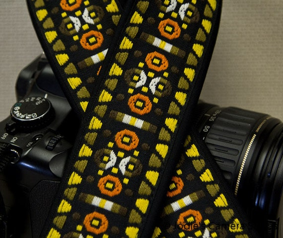 Camera Strap 2 in Wide Custom Padded Vintage Woven Circles Triangles Yellow Orange DSLR SLR