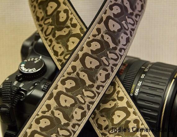 Cheetah Camera Strap 1.5 or 2 in Wide Custom Padded Cheetah Brown Tan DSLR SLR
