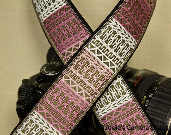 "Camera Strap Lattice Pink Tan 1.5"" Wide Custom Padded Fits DSLR SLR 3673"