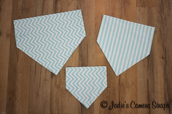 Dog Bandanas - Slip Over Collar - Reversible - Chevrons Stripes Teal Turquoise