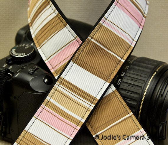 "Camera Strap Stripes Pink and Brown in 1.5"" Wide Custom Padded Fits DSLR SLR 3370"