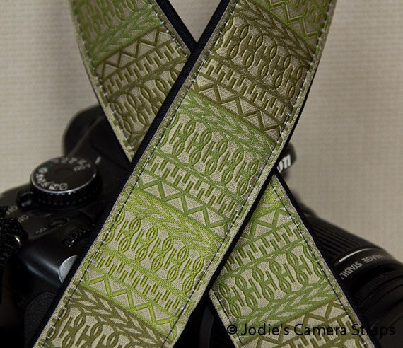 "Camera Strap Lattice in Sage Green in 1.5"" Wide Custom Padded Fits DSLR SLR 2859"