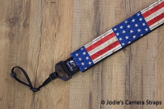 "Americana Camera Strap Custom Padded DSLR SLR 2"" wide or 1.5"" wide"