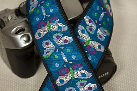 Camera Strap 2 in Wide Custom Padded Butterflies Turquoise Metallic Silver DSLR SLR