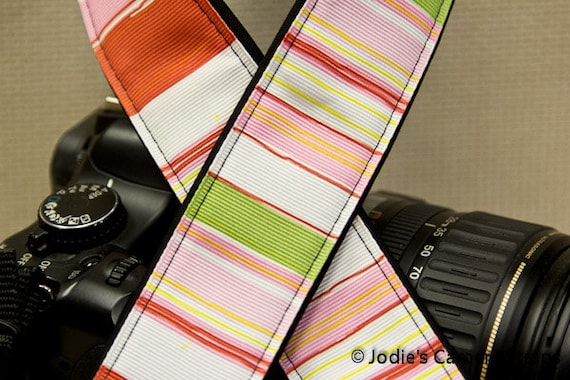 "Camera Strap Stripes Pink Green Red in 1.5"" Wide Custom Padded Fits DSLR SLR 3399"