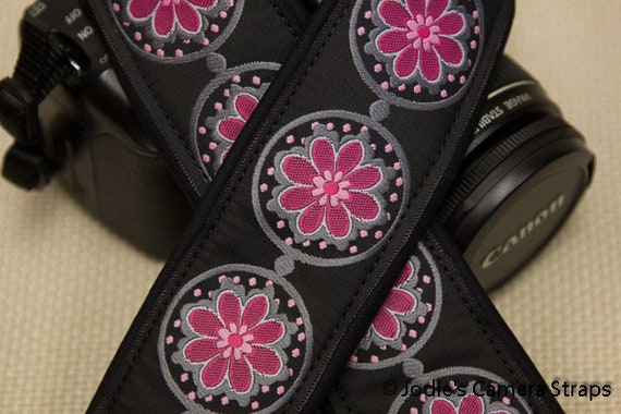 Flower Coins Pink Dark Gray Camera Strap Custom Padded 2 in. Wide Blue or Pink fits DSLR SLR