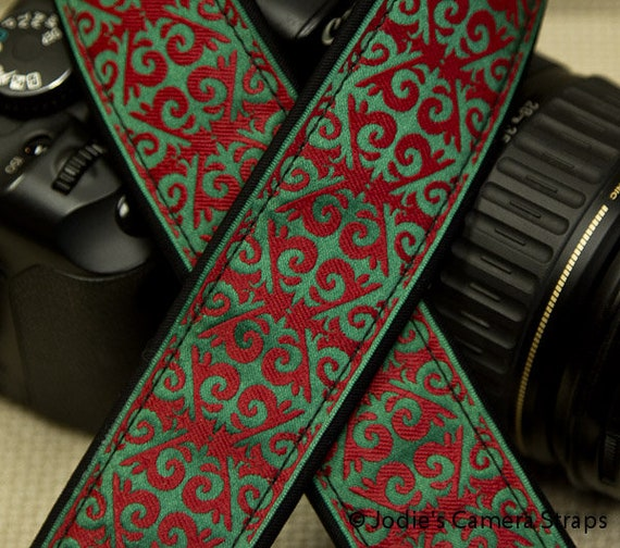 "Camera Strap Arabesque Red Green in 1.5"" Wide Custom Padded Fits DSLR SLR"