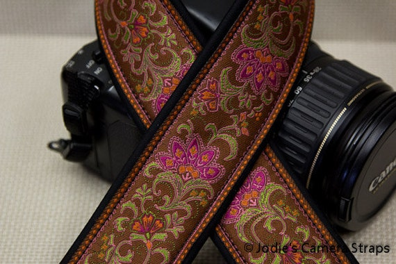 "Custom Camera Strap 2"" Wide Leaf Flower Cinnemon Brown Pink Orange DSLR SLR P&S"