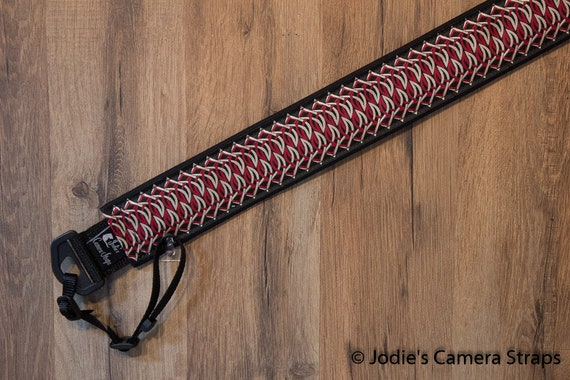 Camera Strap 2 in Wide Custom Padded Geometric Chain Red Tan Black DSLR SLR 6727