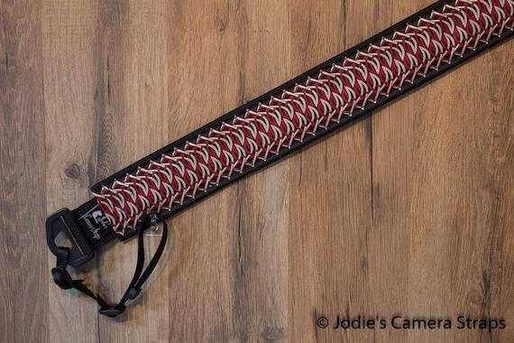 Camera Strap 2 in Wide Custom Padded Geometric Chain Red Tan Black DSLR SLR 6727