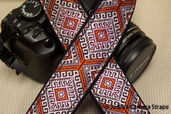 "Camera Strap Aztec Orange Pink 1.5"" Wide Custom Padded Fits DSLR SLR 5562"