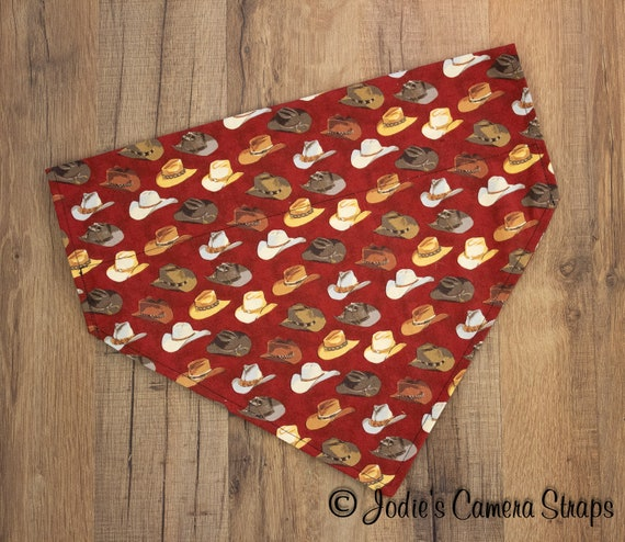 Dog Bandanas - Slip Over Collar - Reversible - Cowboy Hats Rust Brown Tan
