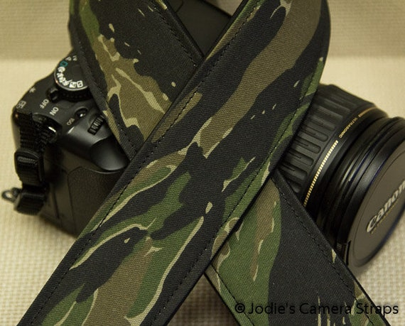 Tiger Stripe Camera Strap 2 in or 1.5 in Wide Custom Padded Military Digi Cam Camouflage DSLR SLR