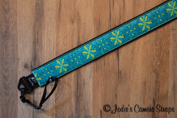 "Custom Camera Strap 2"" Wide Pinwheels Turquoise Lime DSLR SLR P&S 6896"
