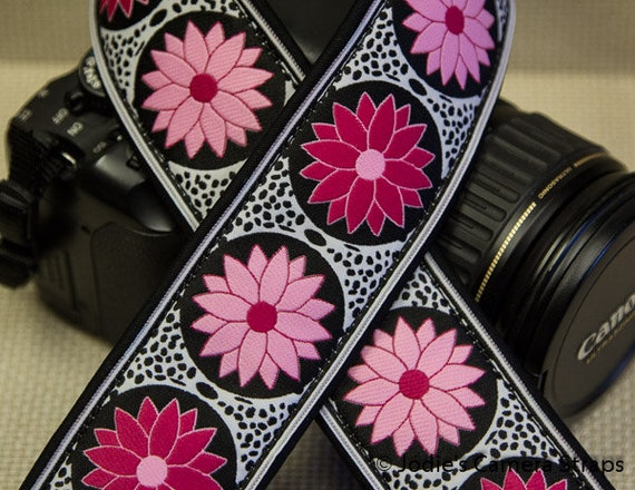 "Custom Camera Strap 2"" Wide Pinwheel Hot Pink Cream Black DSLR SLR P&S"