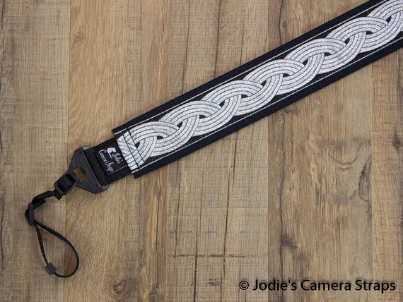 Celtic Black 1.5 in Camera Strap Custom Padded Metallic Silver Celtic Knot on Black DSLR SLR