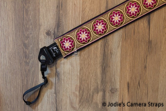Zinnia Camera Strap Fuchsia on Brown Custom Padded 2 in. Wide DSLR SLR 3931