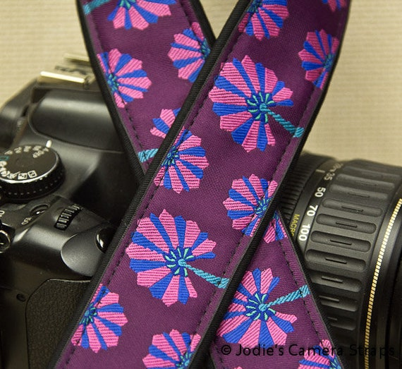 "Camera Strap Dandelions Pink and Blue on Purple in 1.5"" Wide Custom Padded Fits DSLR SLR 3291"