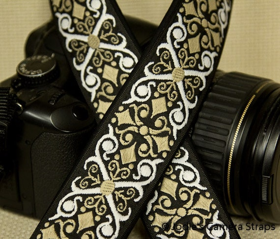 "Camera Strap Scrolls White Tan on Black 1.5"" Wide Custom Padded Fits DSLR SLR 5567"