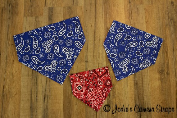 Dog Bandanas Red Blue Bandana Print - Slip Over Collar - Reversible Small Medium Large