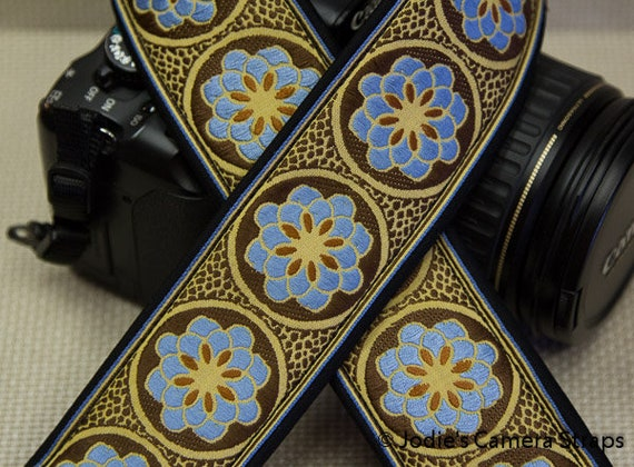 Zinnia Camera Strap Blue on Brown Custom Padded 2 in. Wide DSLR SLR 3937