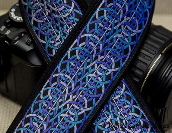 Camera Strap 2 in Wide Custom Padded Geometric Chain Purple Turquoise DSLR SLR 5863