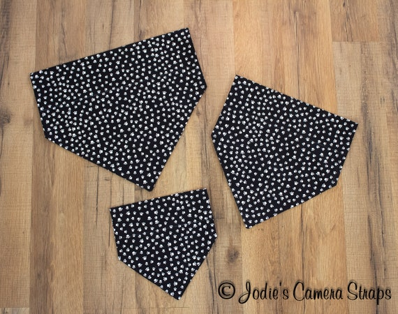 Dog Bandanas - Slip Over Collar - Reversible - Paw Prints White on Black