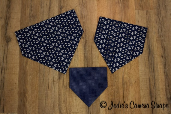 Dog Bandanas - Slip Over Collar - Reversible - Navy Anchors Polka Dots