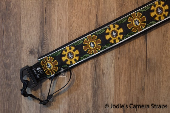 Camera Strap 2 in Wide Custom Padded Gears design in Brown Gold DSLR SLR 6729
