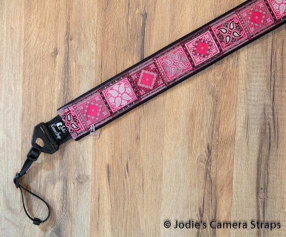 Patchwork Pink Gray Camera Strap 2 in Wide Custom Padded Fits DSLR SLR 6330