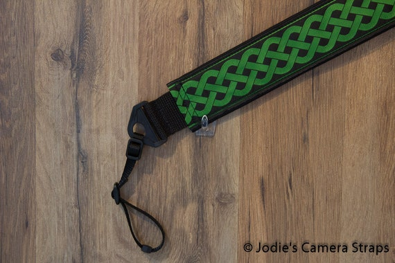 Celtic Green Camera Strap 2 in Wide Custom Padded Celtic Running Knot Design Green on Black DSLR SLR