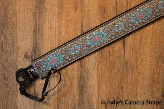"Custom Padded Camera Strap 2"" Wide Flower Medallion Blue on Khaki"