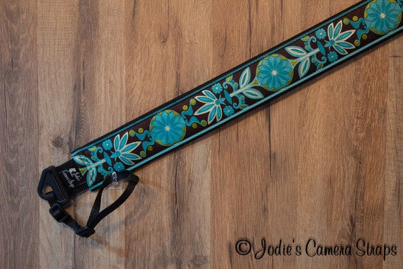 "Camera Strap Pinwheel Flowers Turquoise Teal Brown 2"" Wide Custom Padded Fits DSLR SLR"