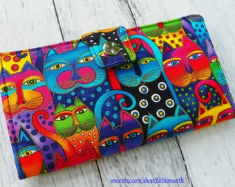 ce2a93ba82 Fanciful Feline cats - Handmade Long Wallet BiFold Clutch best selling  wallet- Vegan Wallet - or half size unisex wallet gifts under 50