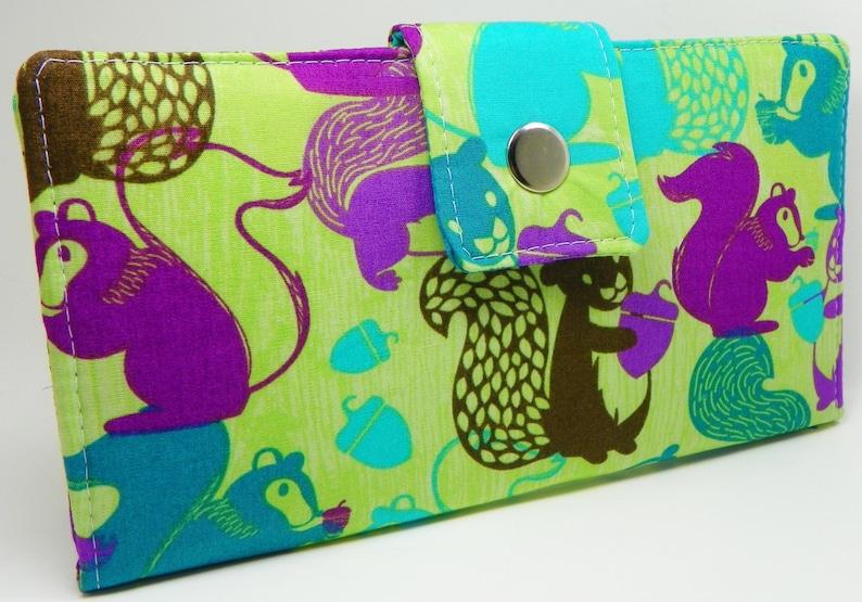 Handmade Long Vegan Wallet  BiFold Clutch Woodland Nutty Squirrels GREEN PURPLE or half size unisex walletgifts under 50 SALE