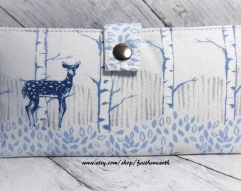 Deer Handmade Long Wallet  BiFold Clutch - vegan wallet -  Fawn Forest Neutral or blue gifts under 50