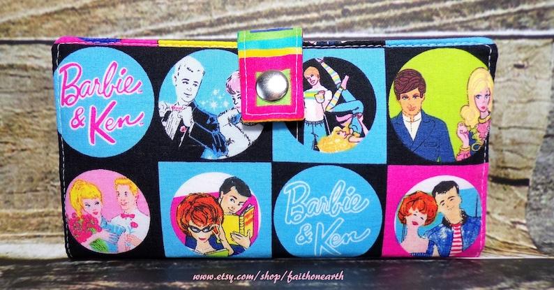 Retro Barbie wallet Handmade Long fandom geek Wallet  BiFold Clutch or half size unisex wallet Vegan