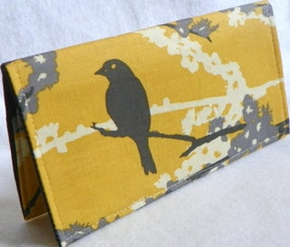 Sparrows in Vintage Yellow Handmade Vegan checkbook cover  wallet  Aviary 2 Gifts under 50