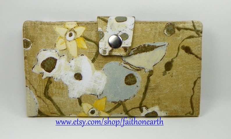 SALE Handmade Long Wallet  BiFold Clutch Vegan Wallet Poppies in Tan or half size unisex walletgifts under 50