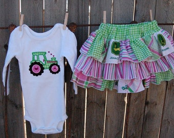 Tiered Ruffled John Deere Skirt Set with Appliqued T-Shirt