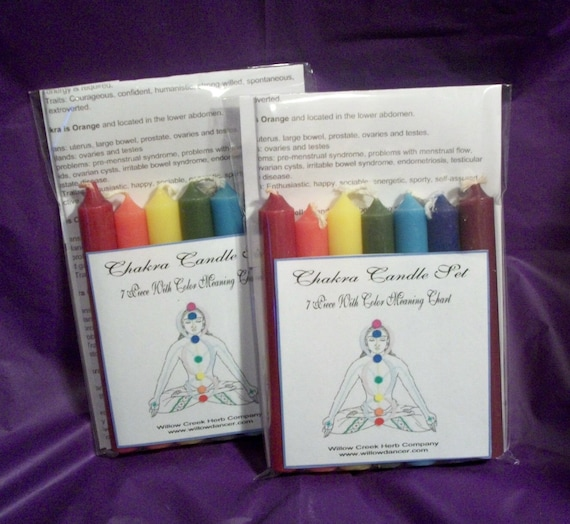 7 Pc Chakra Candle Set Wcolor Meaning Chart Etsy