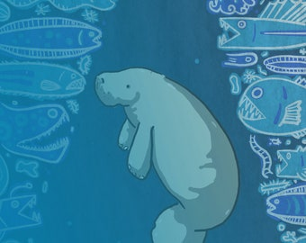 Plenty of fishes in the sea. Some of them are benthopelagic. Manatee and abyss fishes poster illustration