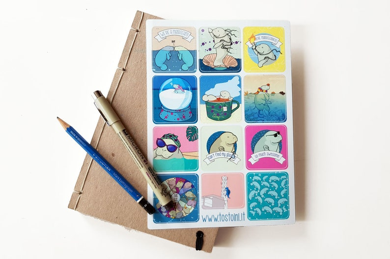 Manatee Sticker Set perfect for journals planners bullet image 0
