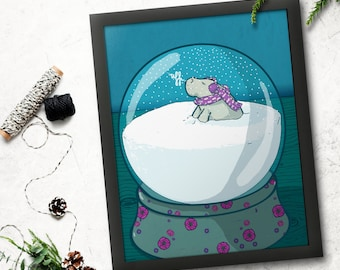 Holiday wishes winter manatee awash in snow inside a snowglobe on blue blackground postcard illustration