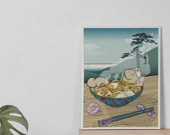 Ramentino - Ramen Onsen manatee - lamentino illustration A3 poster