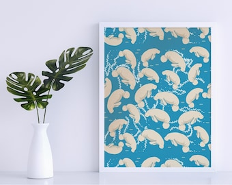 Lamentino the manatee pattern - floating manatees on teal blue background poster