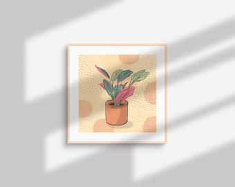 Maranta leuconeura aka maranta tricolor - crazy plant person square poster illustration