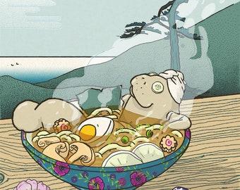 Ramentino - Ramen Onsen manatee - lamentino a6 illustration postcard