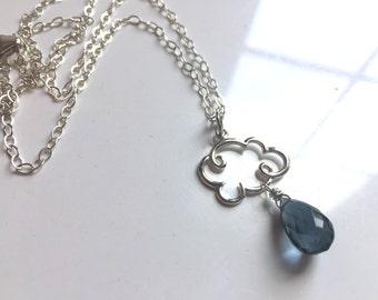 Smokey Blue Quartz Rain Cloud Charm Necklace